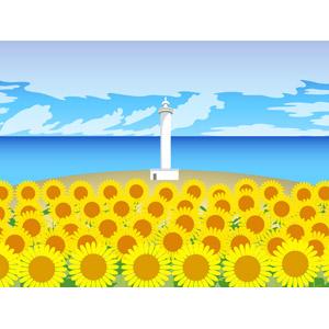 フリーイラスト, ベクター画像, AI, 風景, 灯台(ライトハウス), 海, 植物, 花, 向日葵(ヒマワリ), 黄色の花, 花畑, 夏