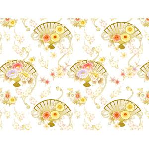 フリーイラスト, ベクター画像, AI, 背景, 和柄, 花柄, 牡丹(ボタン), 扇子, もみじ(カエデ)