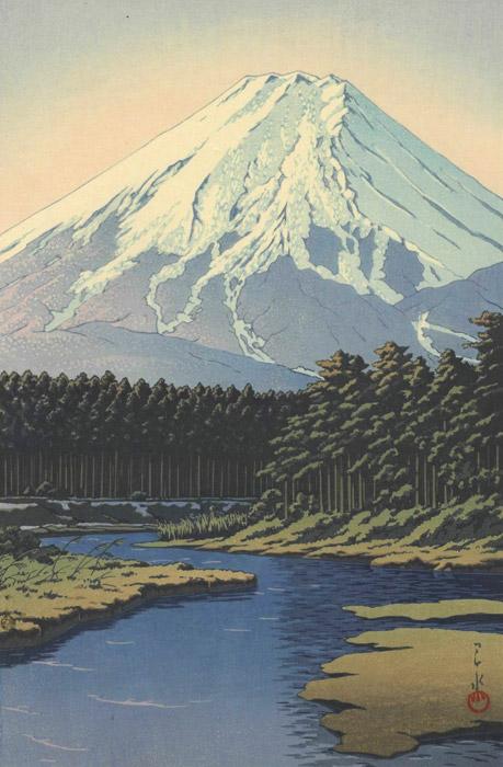フリー絵画 川瀬巴水作「忍野の富士」