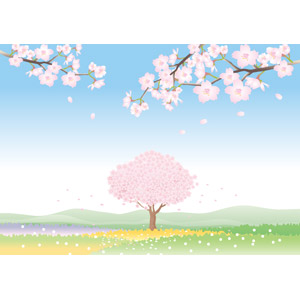フリーイラスト, ベクター画像, AI, 風景, 自然, 樹木, 花, 桜(サクラ), 春, 花畑
