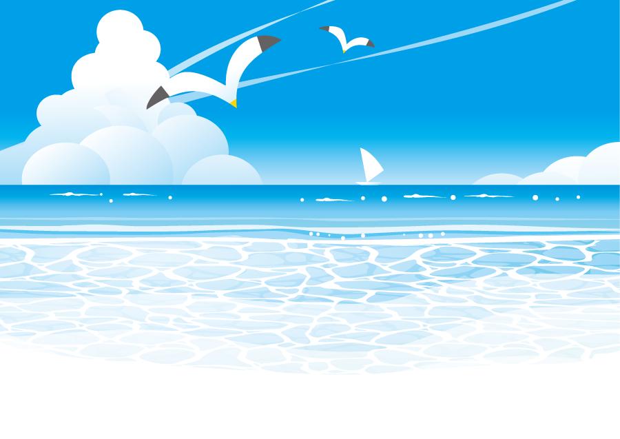 フリーイラスト カモメが飛ぶ夏の海の風景