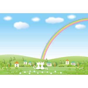 フリーイラスト, ベクター画像, AI, 風景, 田舎, 青空, 虹, 猫(ネコ), 白猫, カップル(動物), 村