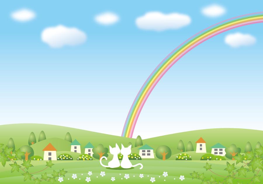 フリーイラスト 虹を眺める白猫のカップル