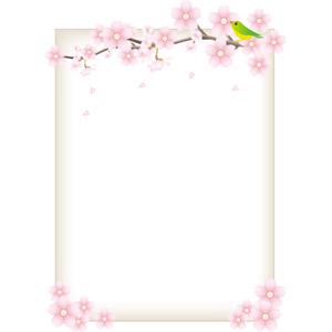 フリーイラスト, ベクター画像, AI, 背景, フレーム, 囲みフレーム, 花, 桜(サクラ), 鶯(ウグイス), 春, 鳥(トリ)