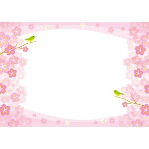 フリーイラスト, ベクター画像, AI, 背景, フレーム, 囲みフレーム, 花, 梅(ウメ), 鳥(トリ), 鶯(ウグイス), 春