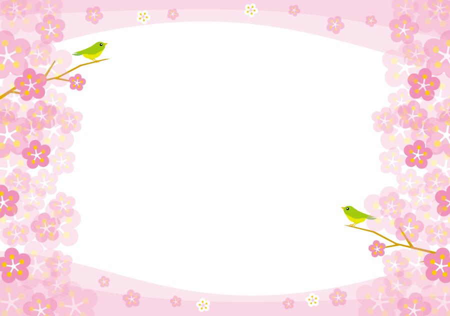 フリーイラスト 梅の花と鶯のフレーム