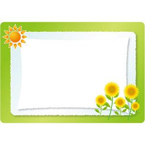 フリーイラスト, ベクター画像, EPS, 背景, フレーム, 囲みフレーム, 夏, 太陽, 向日葵(ヒマワリ)