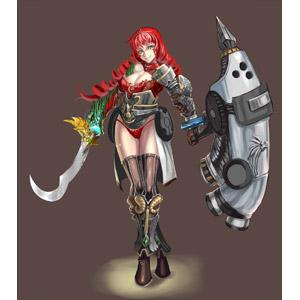 フリーイラスト, 人物, 女性, 武器, 防具, 刀剣, 剣(ソード), 盾, 戦士