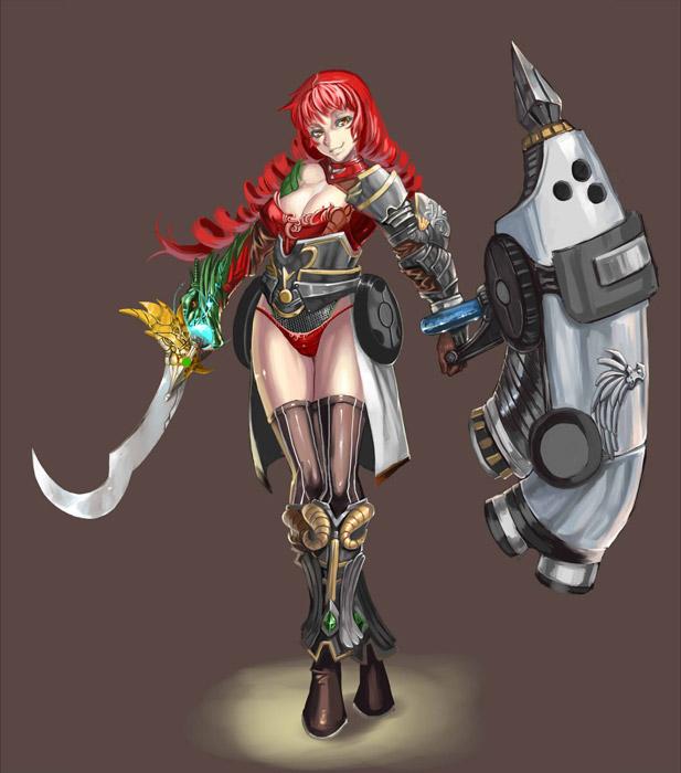 フリーイラスト 盾と剣を持つ女戦士
