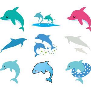 フリーイラスト, ベクター画像, AI, 動物, 哺乳類, イルカ, ジャンプ(動物)