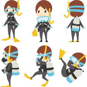 フリーイラスト, ベクター画像, AI, 人物, 男性, スキューバダイビング, レジャー, 水中眼鏡, ウェットスーツ, 足ひれ(フィン), シュノーケル, スキューバタンク