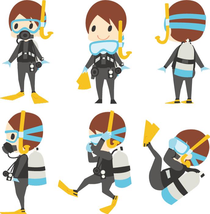 フリーイラスト 6種類のスキューバダイビング姿の男性のセット
