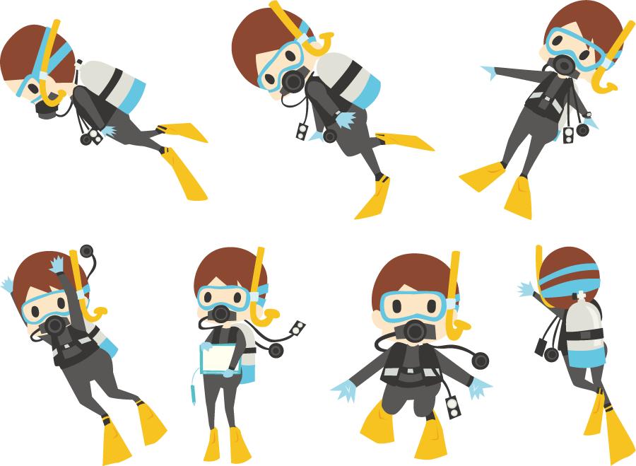 フリーイラスト 7種類のスキューバダイビング中の男性のセット
