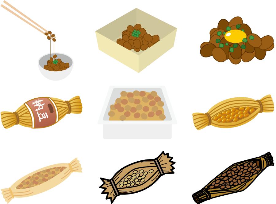 フリーイラスト 9種類の納豆のセット
