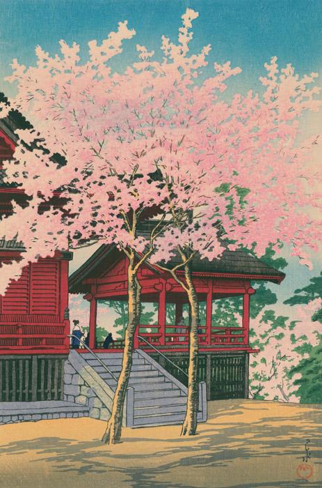 フリー絵画 川瀬巴水作「東京二十景 上野清水堂 試摺」