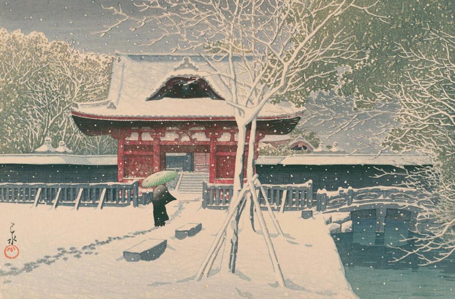 フリー絵画 川瀬巴水作「芝公園の雪」