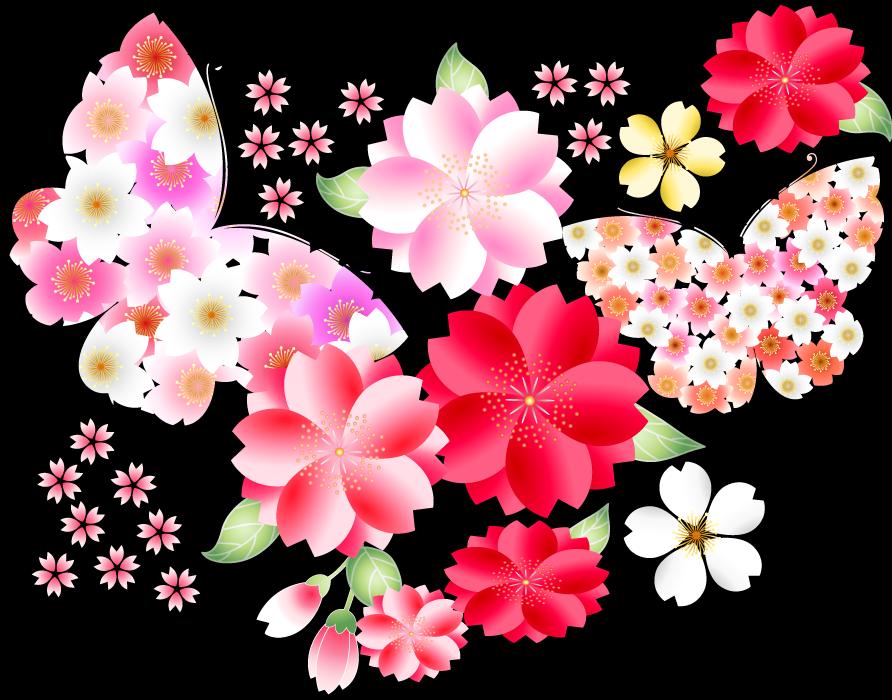 フリーイラスト 桜の花と蝶の和柄背景