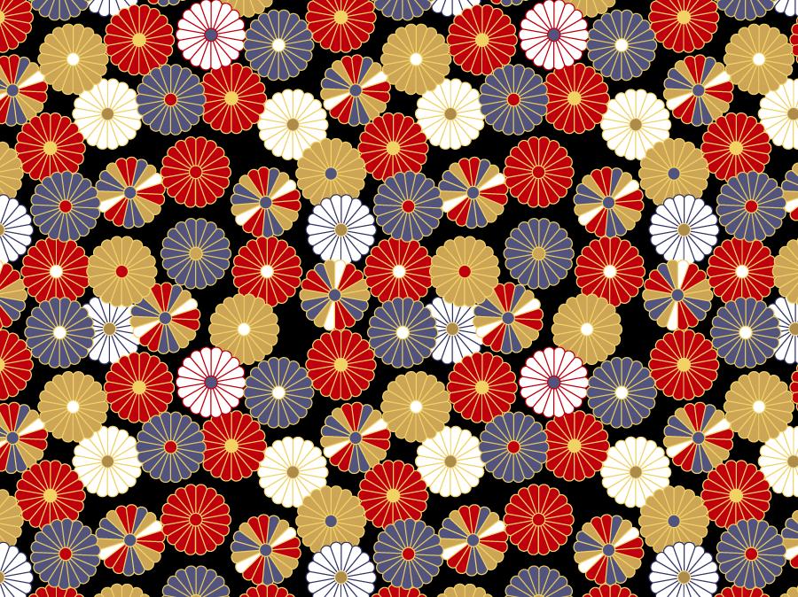 フリーイラスト 菊の紋のパターン背景