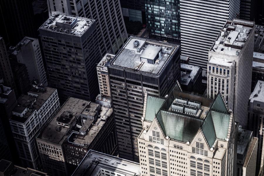 フリー写真 建ち並んだ高層ビルの風景