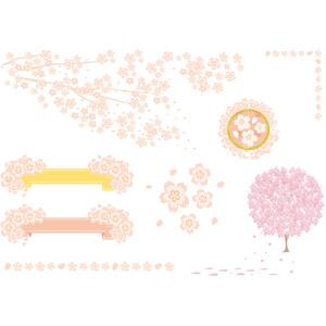 フリーイラスト, ベクター画像, AI, 花, 桜(サクラ), 春, 樹木, 帯リボン, 飾り罫線(ライン)