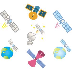 フリーイラスト, ベクター画像, AI, 人工衛星, 通信衛星, 機械, パラボラアンテナ, 地球