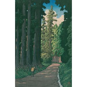 フリー絵画, 川瀬巴水, 浮世絵, 風景画, 小道, 樹木, 杉(スギ), 日光街道, 日本の風景