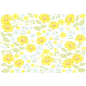 フリーイラスト, ベクター画像, AI, 背景, 植物, 花, 黄色の花, 青色の花, マーガレット