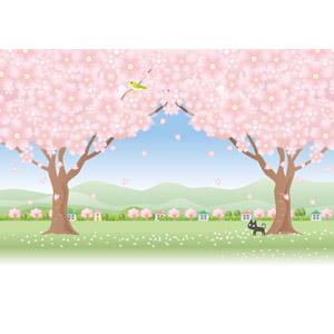 フリーイラスト, ベクター画像, AI, 風景, 樹木, 花, 桜(サクラ), 春, ピンク色の花, 鶯(ウグイス), 猫(ネコ), 黒猫, 田舎, 桜吹雪, 村