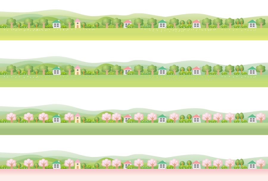 フリーイラスト 木と家の田舎の飾り罫線
