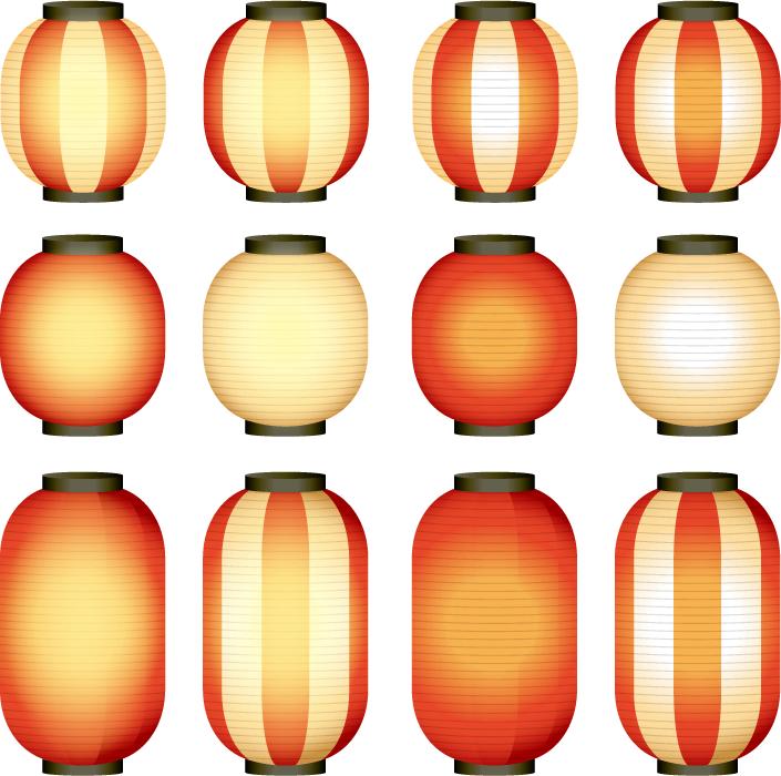 フリーイラスト 12種類の点灯している提灯のセット