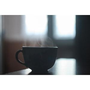 フリー写真, 食器, コーヒーカップ, ティーカップ, 湯気, 飲み物(飲料)