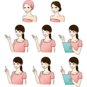 フリーイラスト, ベクター画像, AI, 人物, 女性, 仕事, 職業, 美容, エステ, エステティシャン, 案内する, ワンポイントアドバイス, 指差す, 左上を指す, 笑う(笑顔)