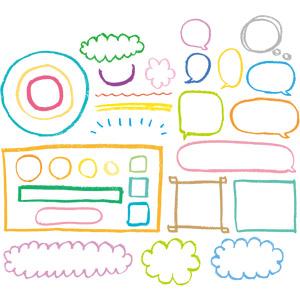フリーイラスト, ベクター画像, AI, 飾り(装飾), クレヨン, 吹き出し, フレーム, 雲, 円形(サークル), 四角形(スクエア)