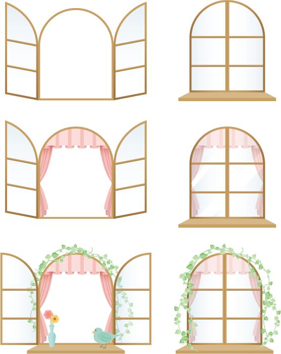 フリーイラスト 6種類の窓のセット