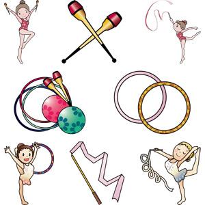 フリーイラスト, ベクター画像, AI, 人物, 女性, スポーツ, 体操, 新体操, クラブ(新体操), リボン(新体操), フープ(新体操), ボール(新体操)