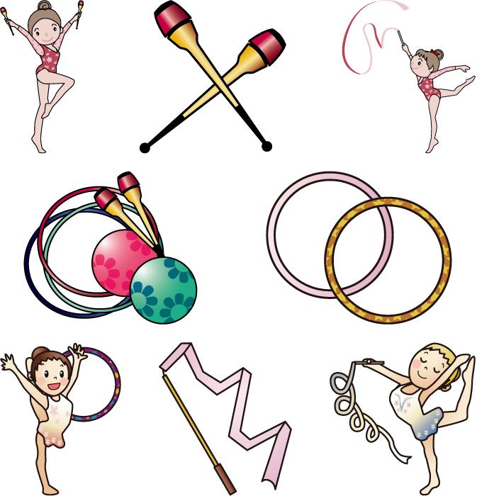 フリーイラスト 8種類の新体操のセット