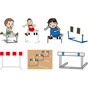 フリーイラスト, ベクター画像, AI, 人物, 男性, スポーツ, 陸上競技, ハードル競走, ハードル, 跳ぶ(ジャンプ)