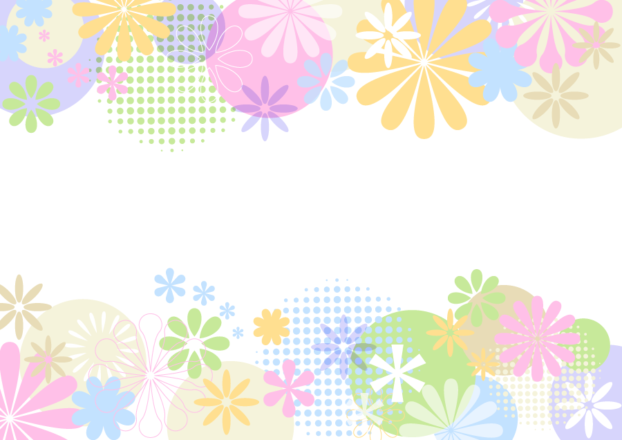 フリーイラスト カラフルな花柄の飾り枠