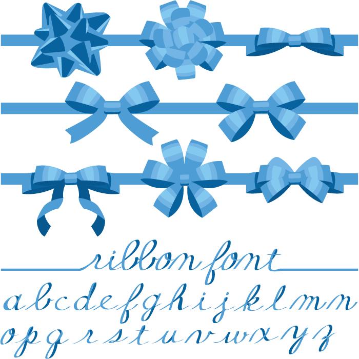 フリーイラスト 青色のリボンと筆記体のアルファベットのセット