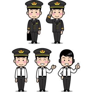 フリーイラスト, ベクター画像, EPS, 人物, 男性, 仕事, 職業, 操縦士(パイロット), 敬礼, 案内する, ヘッドセット, ワンポイントアドバイス, 指差す, 上を指す