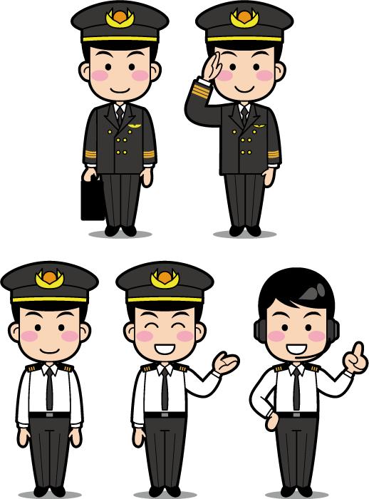 フリーイラスト 5種類のパイロットのセット
