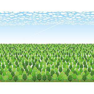 フリーイラスト, ベクター画像, AI, 風景, 森林, 樹木, 青空, 雲, 飛行機雲