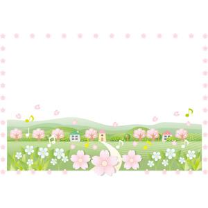 フリーイラスト, ベクター画像, AI, 背景, フレーム, 囲みフレーム, 田舎, 春, 花, 桜(サクラ), 音符, 花びら