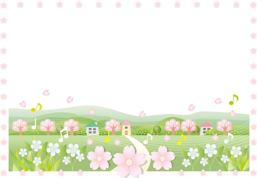 フリーイラスト 田舎の風景とさくらの花の飾り枠