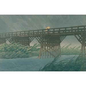 フリー絵画, 川瀬巴水, 浮世絵, 風景画, 建造物, 橋, 河川, 雨, 傘, 日本の風景, 東京都, 千葉県
