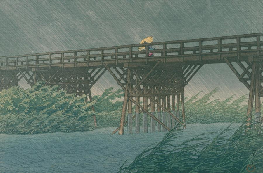 フリー絵画 川瀬巴水作「今井橋の夕立」