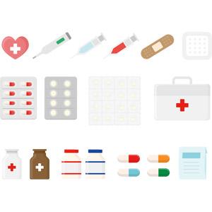 フリーイラスト, ベクター画像, AI, 医療, 医薬品, 薬(クスリ), 注射器, 採血, 体温計, 絆創膏, バンドエイド(カットバン), 救急箱