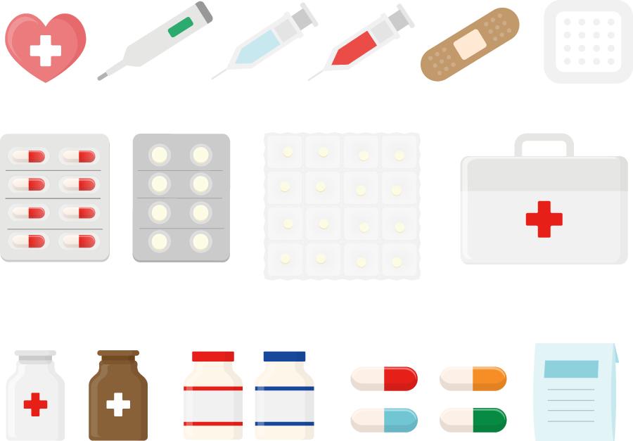 フリーイラスト 薬や注射器や絆創膏などの医療関連のセット
