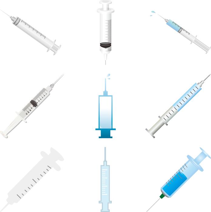 フリーイラスト 9種類の注射器のセット