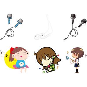 フリーイラスト, ベクター画像, AI, 家電機器, オーディオ機器, イヤホン(イヤフォン), 少女, 女の子, 音楽, 音楽鑑賞